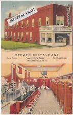 1939 FAYETTEVILLE, NC, STEVE'S RESTAURANT POSTCARD