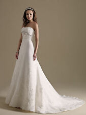 Formal Wedding Dress Bridal Ball Gown Private Label BY G #1482 White Sz 14 New