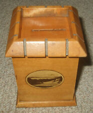 Antique Mauchline Ware Castle Money Box c1880 - Weymouth