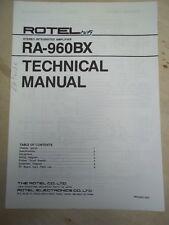 Rotel Service/Technical Manual~RA-960BX Amplifier~Original