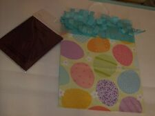 Gift Bag With Decorative Large Easter Eggs With Two Dark Purple Tissue Sheets