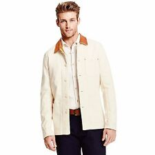 TOMMY HILFIGER MADE IN USA DENIM & LEATHER JACKET MEN'S SIZE L LARGE LIGHT BEIGE