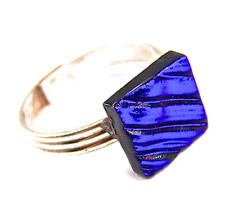 Ring Adjustable Dichroic Glass Blue Sapphire Royal Stripes Patterned Tiny 10mm