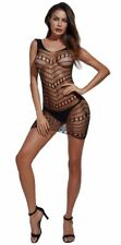 Sexy Lingerie Womens Black Babydoll Hollow Out net Bodysuit Body Stocking Dress