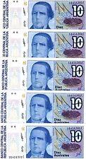 LOT Argentina, 5 x 10 Australes, ND (1985 - 1991) Pick 325b, UNC > Liberty