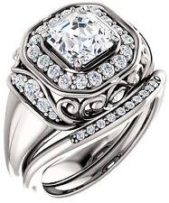 2 ct, 1.51 ct GIA G VS1 Asscher cut & round Diamond 14k White Gold Halo Ring