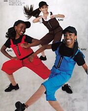 NWT Hiphop Praise overalls 3 colors child/adult zip front tie strap Dance outfit