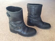 Fab Girls Next Black Leather Biker Style Boots Size UK 3 (Junior)