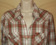 Western Blouse LARGE Womens 12-14 Top White Maroon Plaid Shirt Girl Krazy 4w32