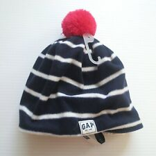1683b2461d8 GAP Kids Girl White Navy Blue Stripe With Pink Pom Beanie Hat - Size S