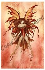 Amy Brown Print Fire Sprite Fairy Faery Element Dance Red Yellow orange