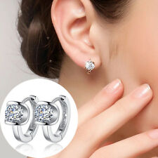1 Pair Women 925 Silver Plated Jewelry Crystal Ear Stud Earrings TGS
