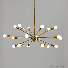 18 Lights Arms Sputnik Starburst Light Fixture Chandelier - Polished  Brass