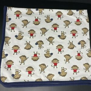 Just One You Carters Monkeys Baseball Baby Blanket Receiving Swaddle Cotton