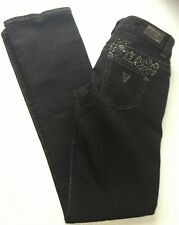 Guess Jeans Womens Regular 26 Daredevil Bootcut Stretch Denim Black Rhinestones