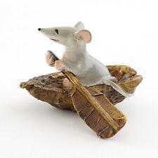 "2"" Miniature Fairy Garden Terrarium Mice Rowing Boat Statue Dollhouse Decor"