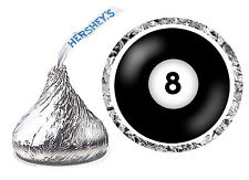 216 BILLIARDS POOL 8 ball BIRTHDAY PARTY FAVORS HERSHEY KISS LABELS