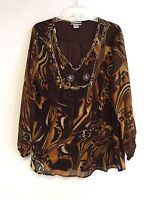 Women's Printed Embellished Polyester Plus Size Tunic Top Blouse 1X & 2X  NWT
