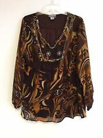Women's Printed Embellished Polyester Plus Size Tunic Top Blouse Size 1X  NWT
