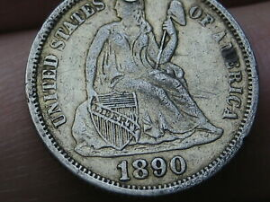 1890 P Seated Liberty Dime- XF Details