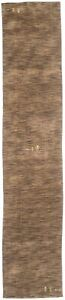 3X12 Modern Solid Brown Oriental Runner Rug Hallway Hand-Loomed Carpet 2'6X12