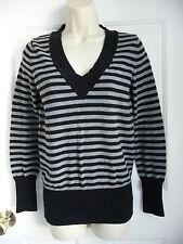 Gap Medim M Sweater Black Grey Stripes V-neck Cotton Silk Nylon Knit AMUSTHAVE