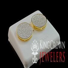 GENUINE DIAMOND 0.30 CTW MENS LADIES CIRCLE DESIGNER GOLD FINISH STUD EARRINGS
