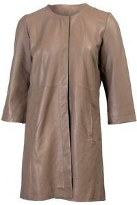 NEW Leather Coat - Clea, Mud -  Size 36 by Cigno Nero