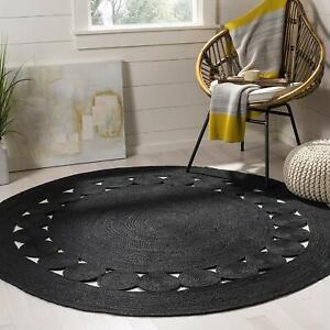 Black Jute Round Rug Natural Jute Reversible Braided 7x7 Feet Style Rustic Look