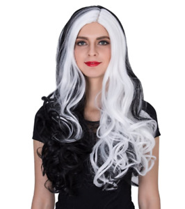 Punk Rock Goth Long Curly Synthetic Hair Cosplay Wig, White/Black