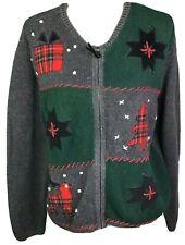 Liz Claiborne Crazy Horse Womens Christmas Sweater Full Zip Suade Plaid Deer L