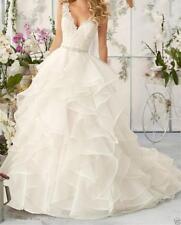 White/Ivory Lace Wedding Dress Bridal Ball Gown Custom Size 6-8-10-14-16+18