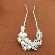 Fashion Women Plum Flower Party Fork Hair Stick Pin Crystal Hair Accessories