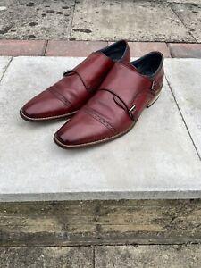 Mens Goodwins Leather Monk Double Strap Shoes Oxblood Size UK 9 EU 43