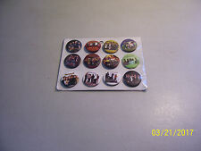 """Carded Lot of 12 Different Brand New 1 1/4"""" Maroon 5 Pin Back Buttons"""