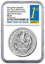 2017 Britain 2 oz Silver Queens Beast Dragon Coin NGC MS69 FDI SKU46061