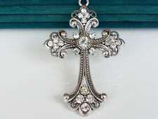 1 x Extra Large Vintage Silver Rhinestone Cross Charm Pendants 75mm x 50mm LF NF