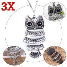 3x Vintage Women Girl Fashion Bronze Owl Long Chain Necklace Pendant Jewellry TR