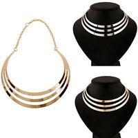 Women Fashion Punk Metal Charm Choker Chunky Statement Bib Chain Necklace Collar