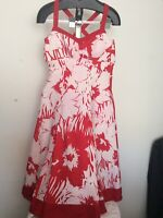 Womens Linen Dress Kaliko Size 10 Floral Fully Lined Side Zip Hardly Used