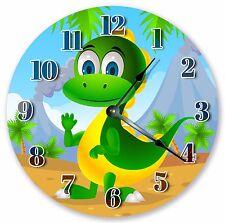 "10.5"" CUTE DINO KIDS ROOM CLOCK - Large 10.5"" Wall Clock Home Décor Clock - 3033"
