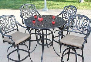 "Elizabeth Outdoor Patio 5pc Bar Set 48"" Cast Aluminum Dark Bronze"
