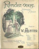 """W. Aletter,"""" Renderz-vous """", Intermezzo Rococo, alte, übergroße Noten"""