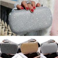 Shimmering Diamante Encrusted Evening Bag Clutch Purse Party Bridal Prom Handbag