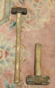 2 Vintage Sledge Lump Hammer Wooden Handles Unique Thors Heavyweight Stumpy