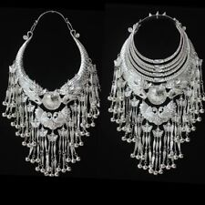 Exotic Tribal chinese handmade miao silver Dragon Phenix tassels necklace 1piece