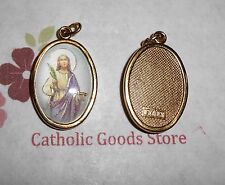 St. Saint Lucy Italian 1 inch Gold Tone and Enameled - Medal