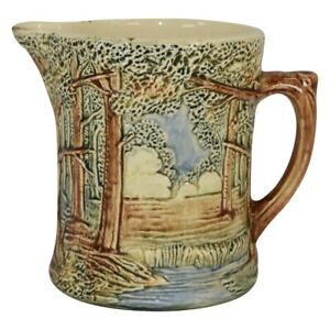 Weller Pottery Forest 1920s High Glaze Scenic Small Ceramic Pitcher