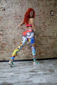 Women Sports Pants High Waist Yoga Cartoon Leggings Running Gym Pencil Trousers