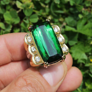 Large Green Tourmaline Ring with Diamonds 18K Two-Tone Gold 23.00ctw
